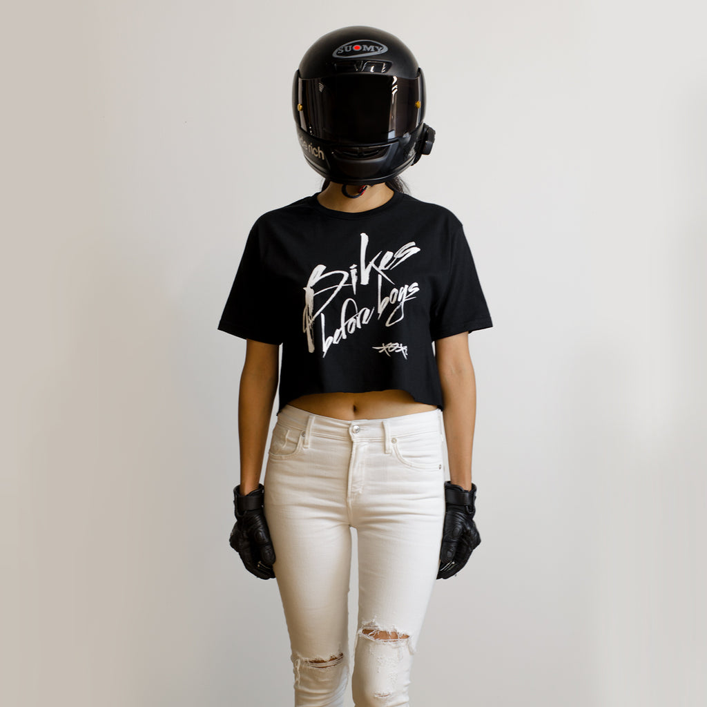 Bikes Before Boys Crop Tee {Black}