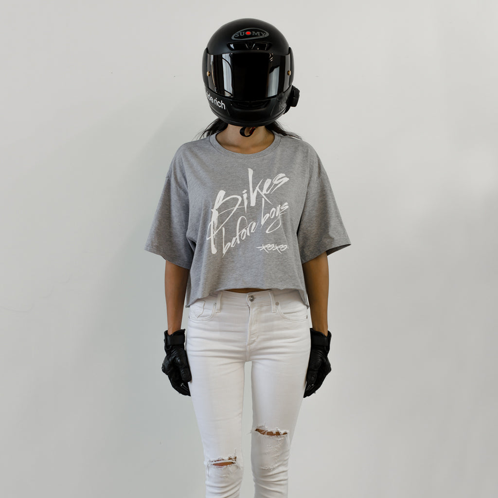 Bikes Before Boys Crop Tee {Heather Grey}
