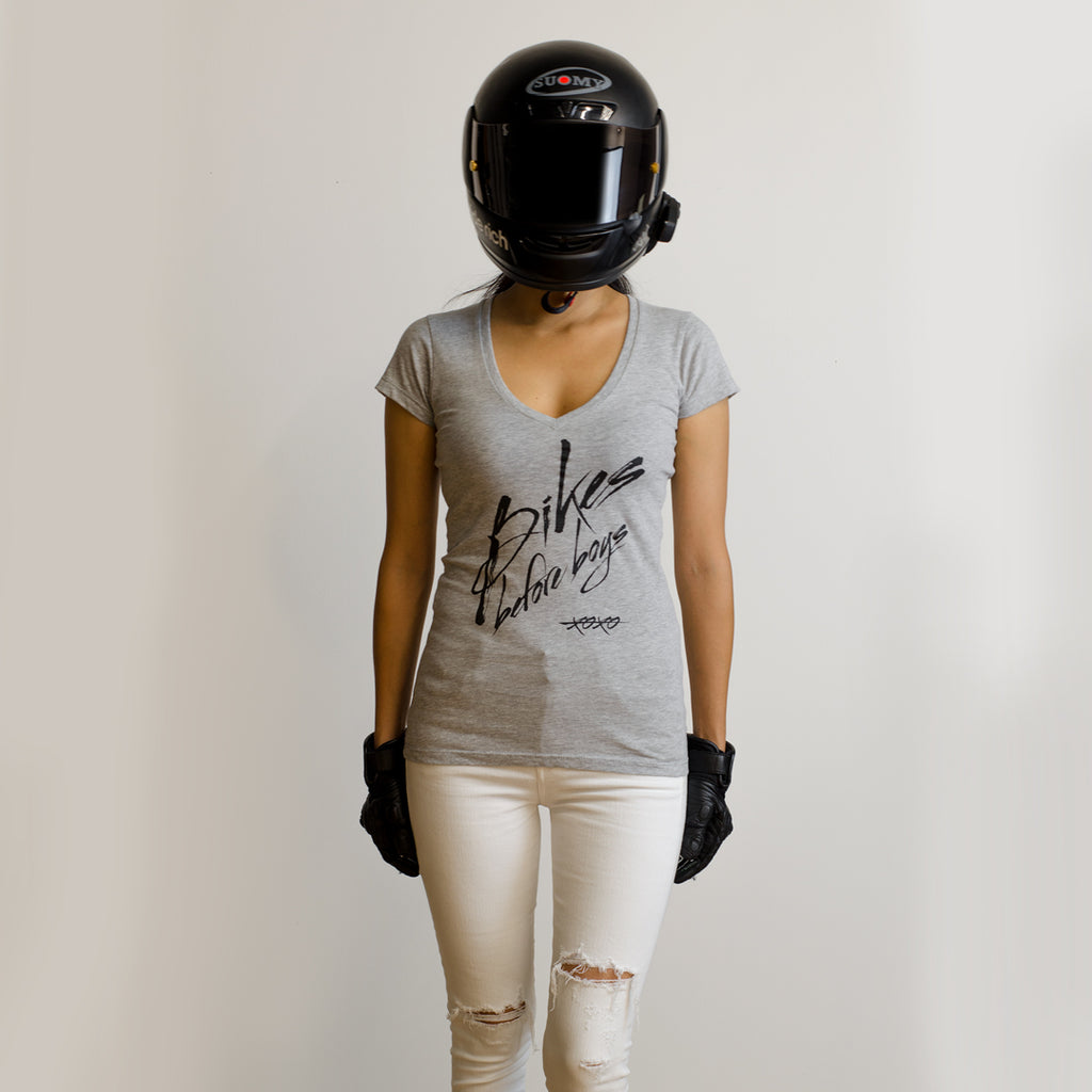 Bikes Before Boys V-Neck Tee {Heather Grey}
