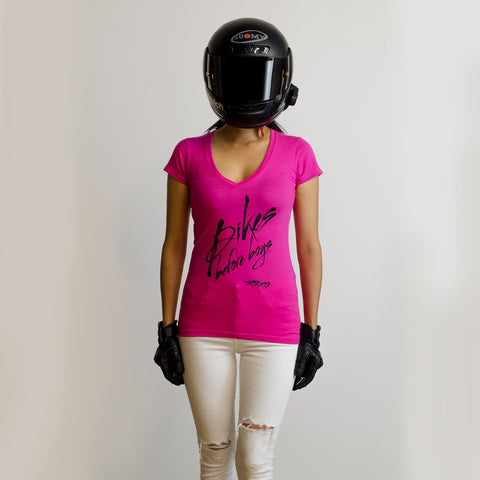Bikes Before Boys V-Neck Tee {Hot Pink}