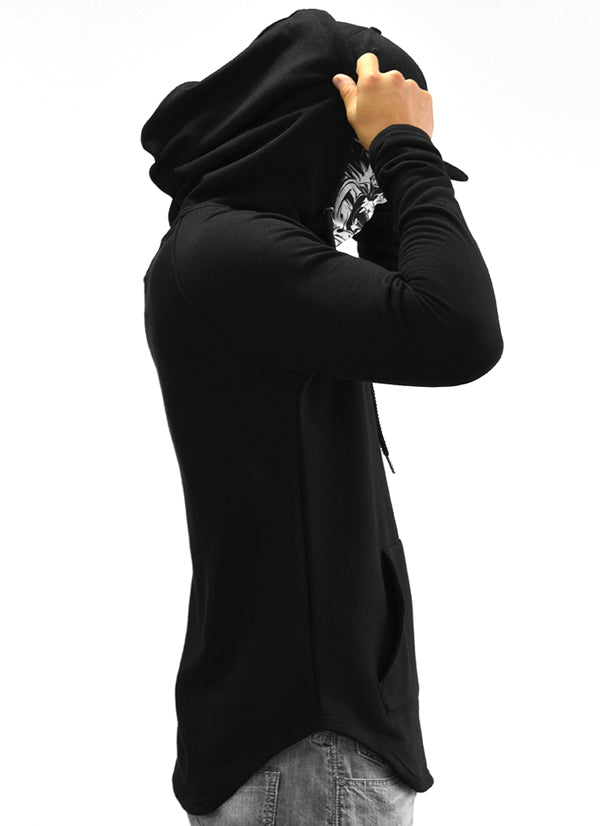 RR Filigree & Chains Patched Scoop Pullover Hoodie {White on Black}