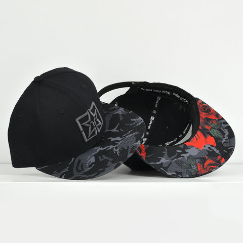 Emblem Rose Camo Strapback View 1 - Motorcycle Hat