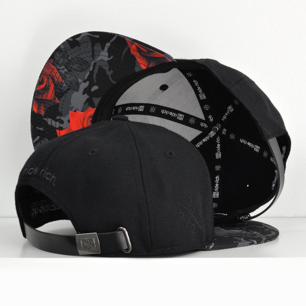 Emblem Rose Camo Strapback View 4 - Motorcycle Hat