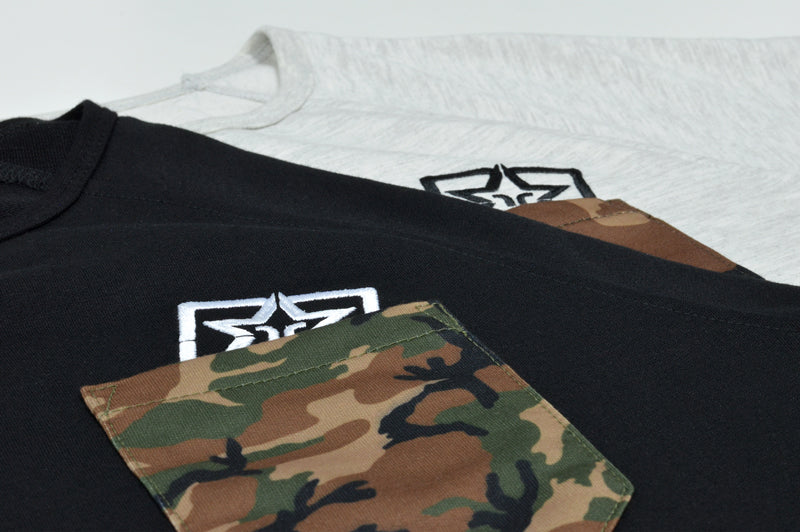 Camo Pocket Scoop Tee {Black} 5