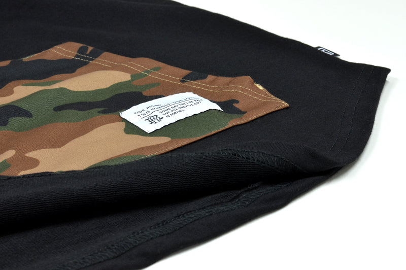 Camo Pocket Hooded Scoop Tee {Black} 5