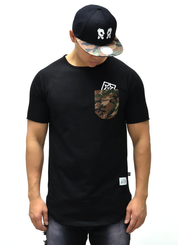 Camo Pocket Scoop Tee {Black} 1