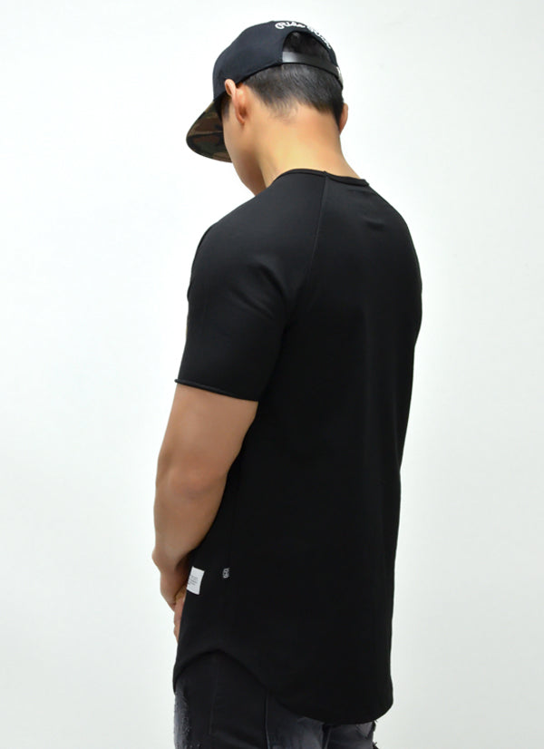 Camo Pocket Scoop Tee {Black} 2