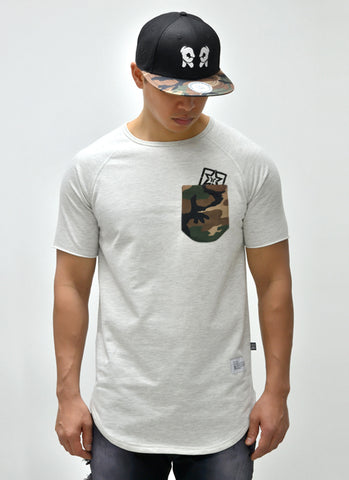 Camo Pocket Scoop Tee {White Heather} 1