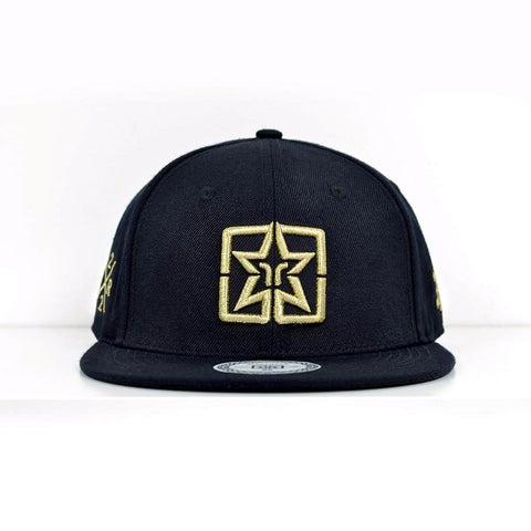 Emblem Gold on Black Strapback View 1 - Motorcycle Hat