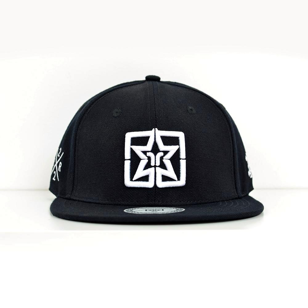 Emblem White on Black Strapback View 1 - Motorcycle Hat