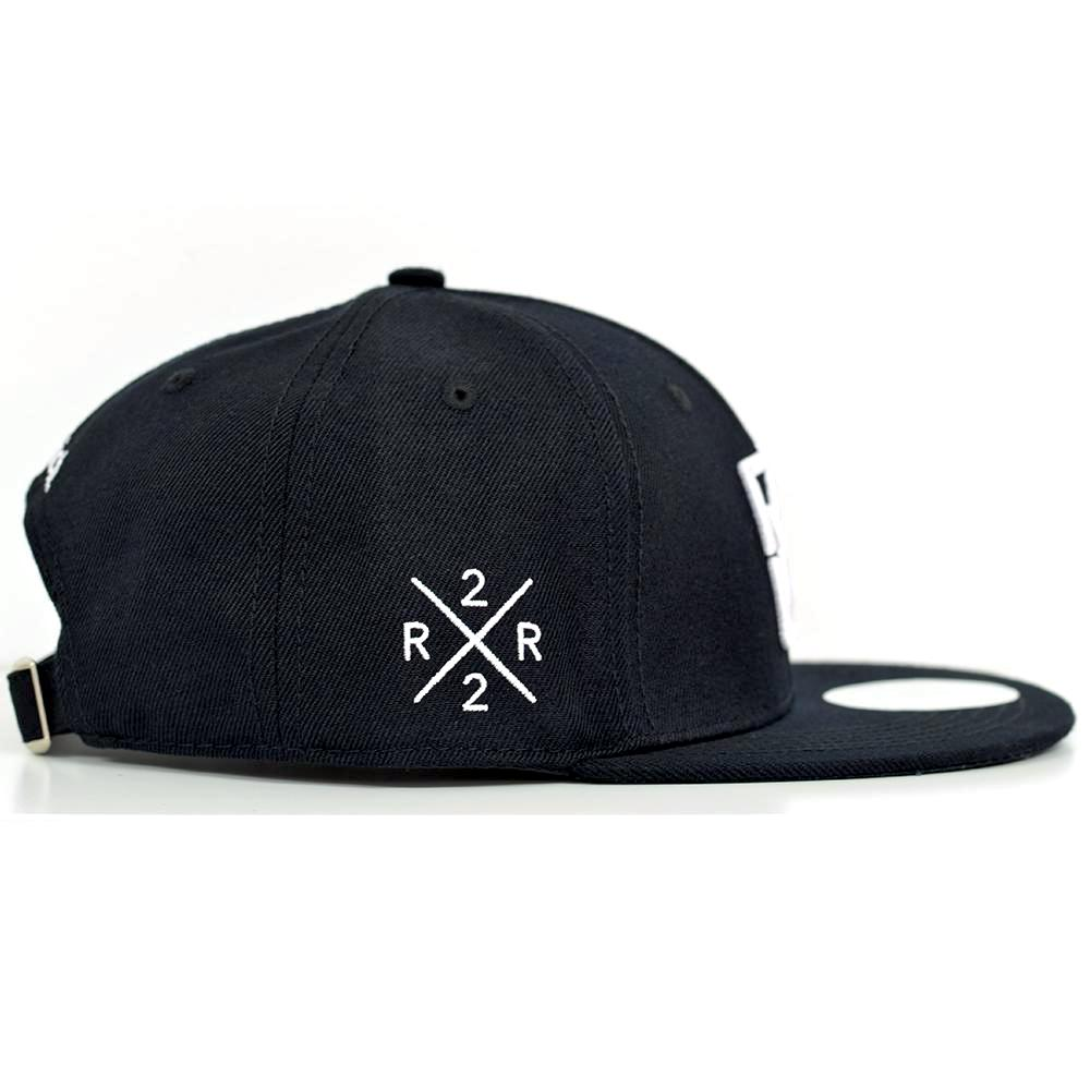 Emblem White on Black Strapback View 2 - Motorcycle Hat
