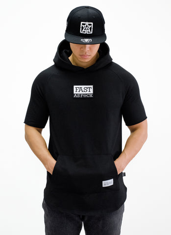 Been Fast Patched Hooded Scoop Tee {Black}