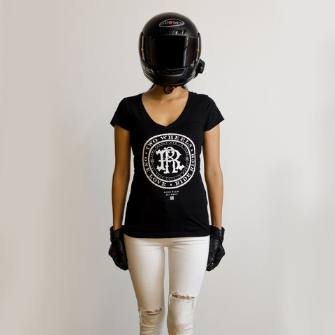 RR Filigree & Chains V-Neck Tee {Black}