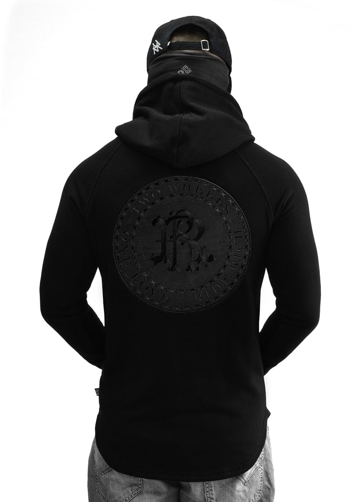 RR Filigree & Chains Patched Scoop Pullover Hoodie {Black on Black}
