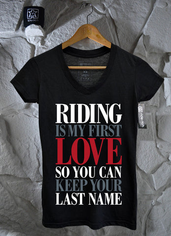 Riding Is My First Love V-Neck Tee View 2 - Motorcycle T-shirt