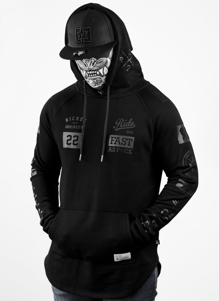 RR GP Scoop Pullover Hoodie {Black on Black}