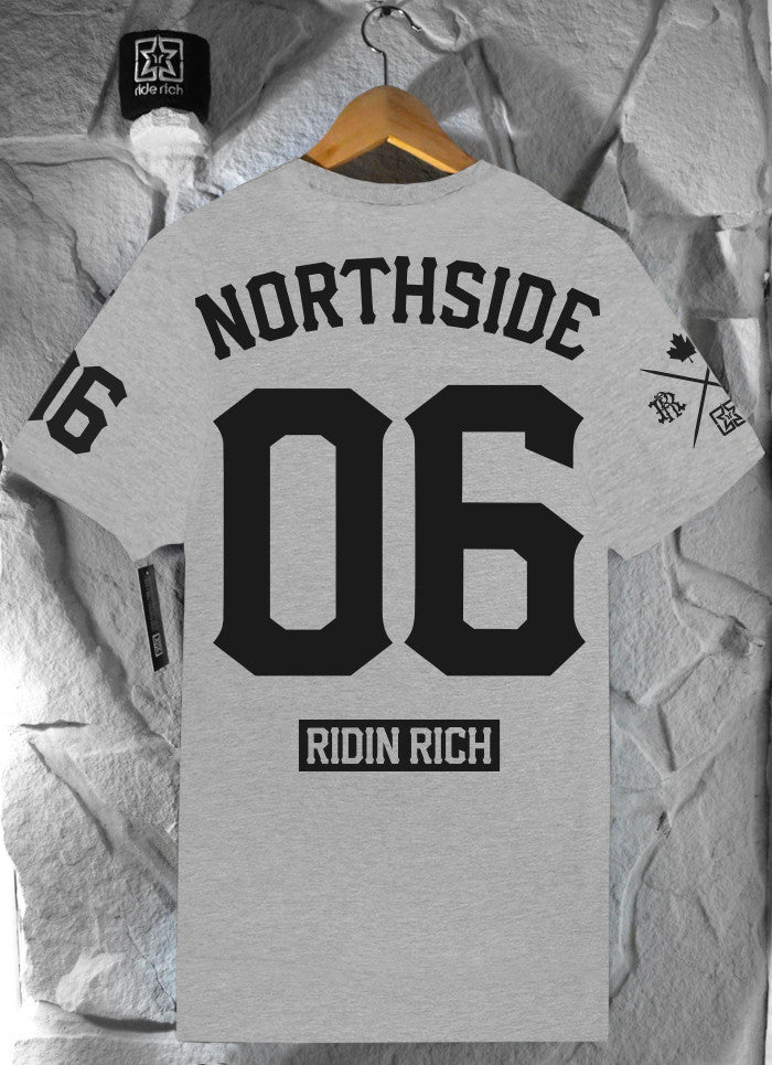 Ride Rich Home Grown Athletic Heather Tee View 3 - Motorcycle Tshirt