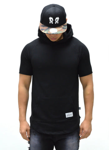 Blank Hooded Scoop Tee {Black} 1