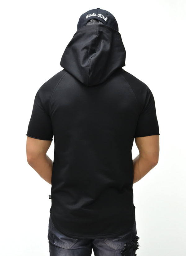 Camo Pocket Hooded Scoop Tee {Black} 3
