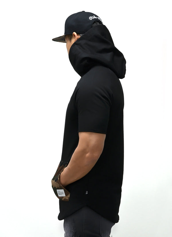 Camo Pocket Hooded Scoop Tee {Black} 4