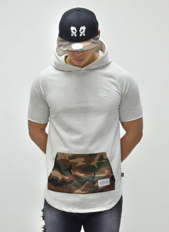 Camo Pocket Hooded Scoop Tee {White Heather} 1