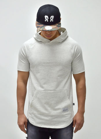 Blank Hooded Scoop Tee {White Heather} 1