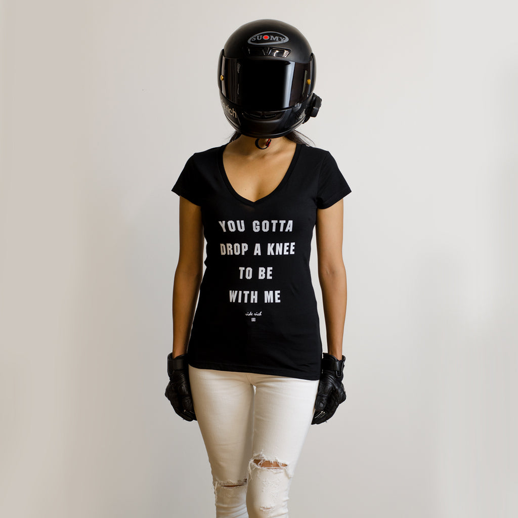 Drop A Knee V-Neck Tee {Black}