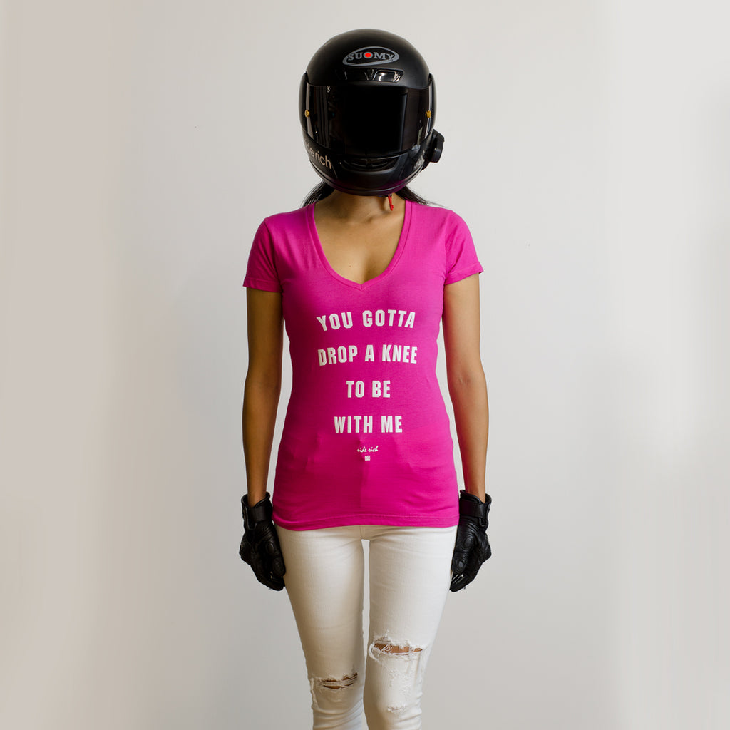 Drop A Knee V-Neck Tee {Hot Pink}