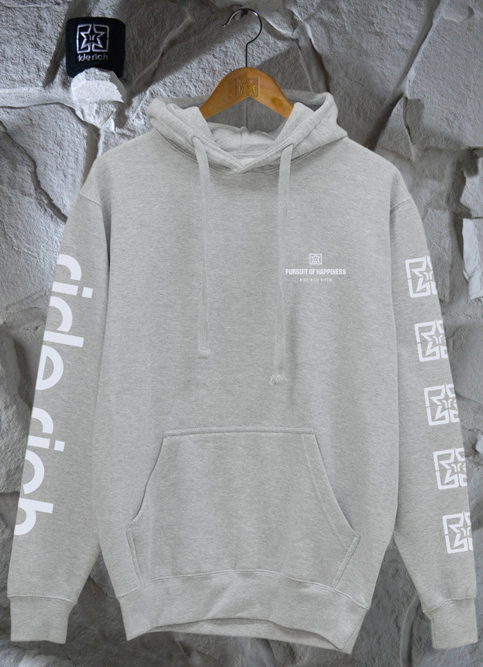 Pursuit of Happiness Pullover Hoodie {3M Reflective Ink/Heather Grey}