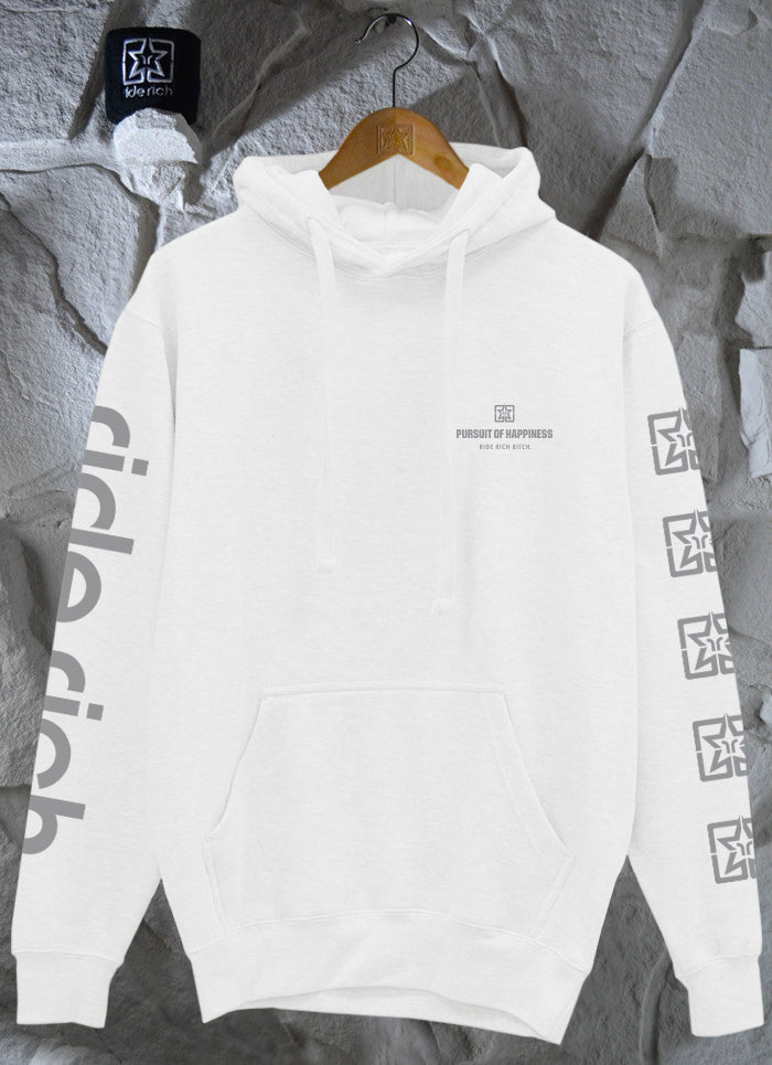 Pursuit of Happiness Pullover Hoodie {3M Reflective Ink/White}