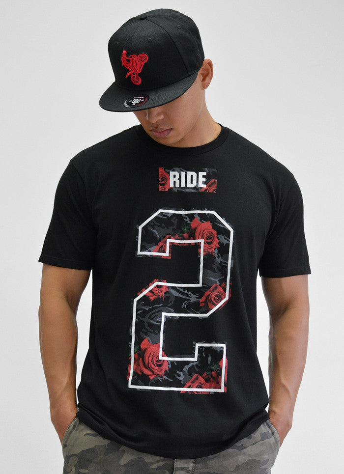 Too Rich Rose Camo Tee View 3 - Motorcycle T-shirt