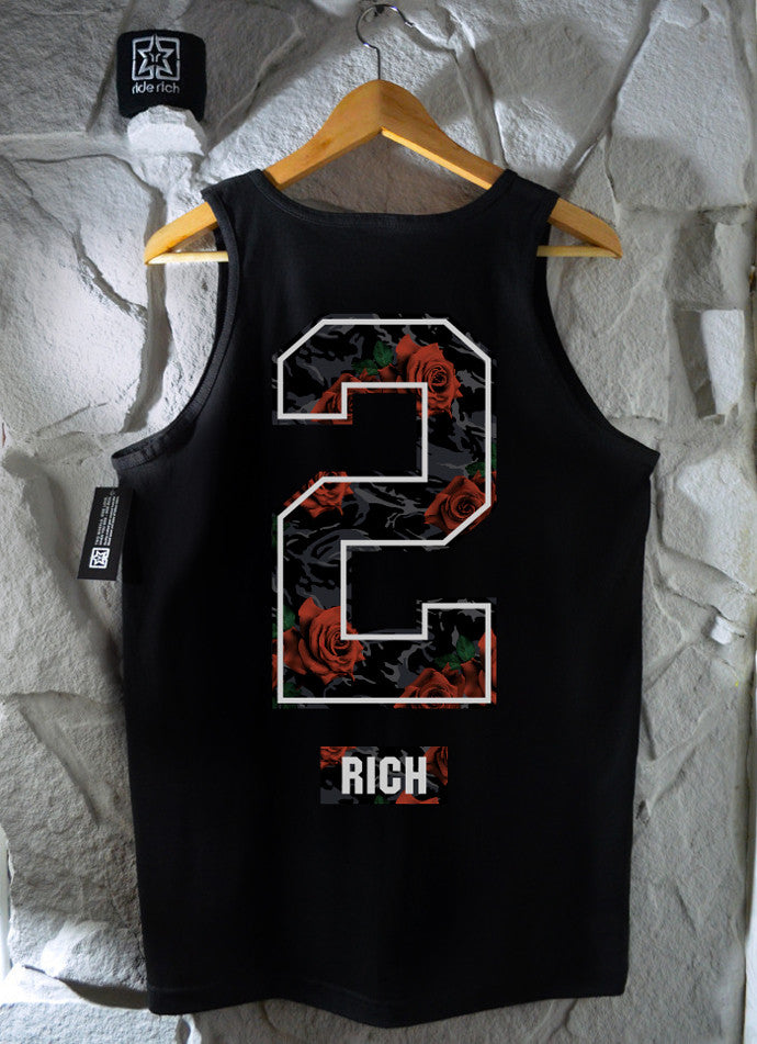 Too Rich Rose Camo Tank View 2 - Motorcycle Tank Top