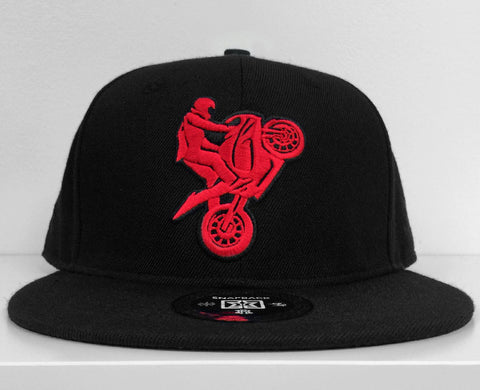 I Love Riding Red on Black Snapback View 1 - Motorcycle Hat