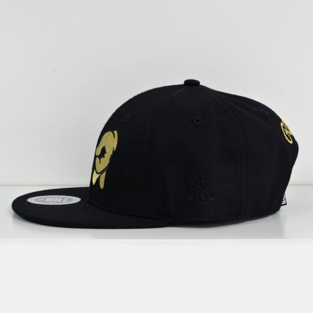Rep Life On Two Gold on Black Strapback View 3 - Motorcycle Hat