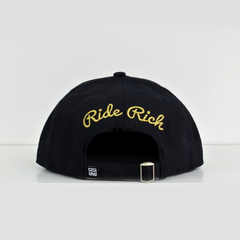 Rep Life On Two Gold on Black Strapback View 4 - Motorcycle Hat