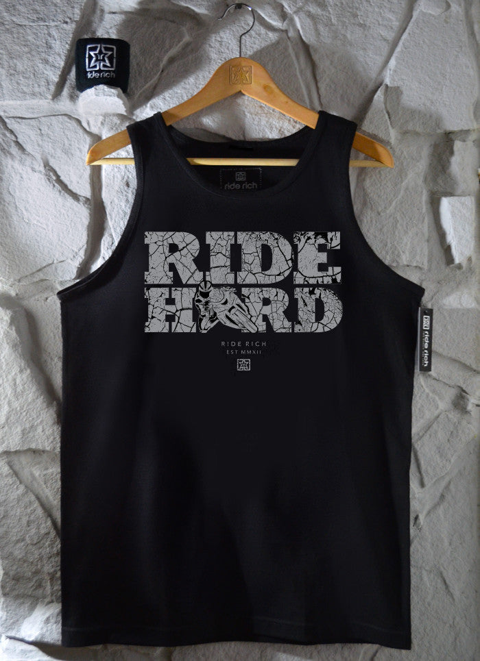 Ride Hard Cracked Concrete Tank View 1 - Motorcycle Tank Top