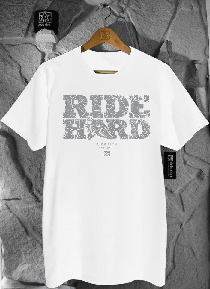 Ride Hard Cracked Concrete White Tee View 1 - Motorcycle T-shirt