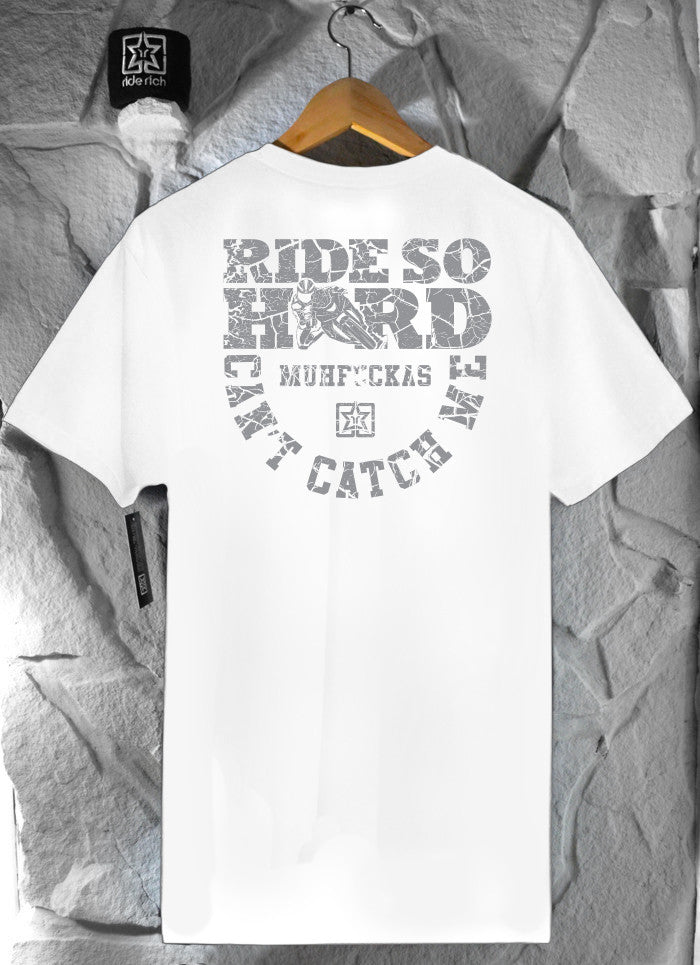 Ride Hard Cracked Concrete White Tee View 2 - Motorcycle T-shirt
