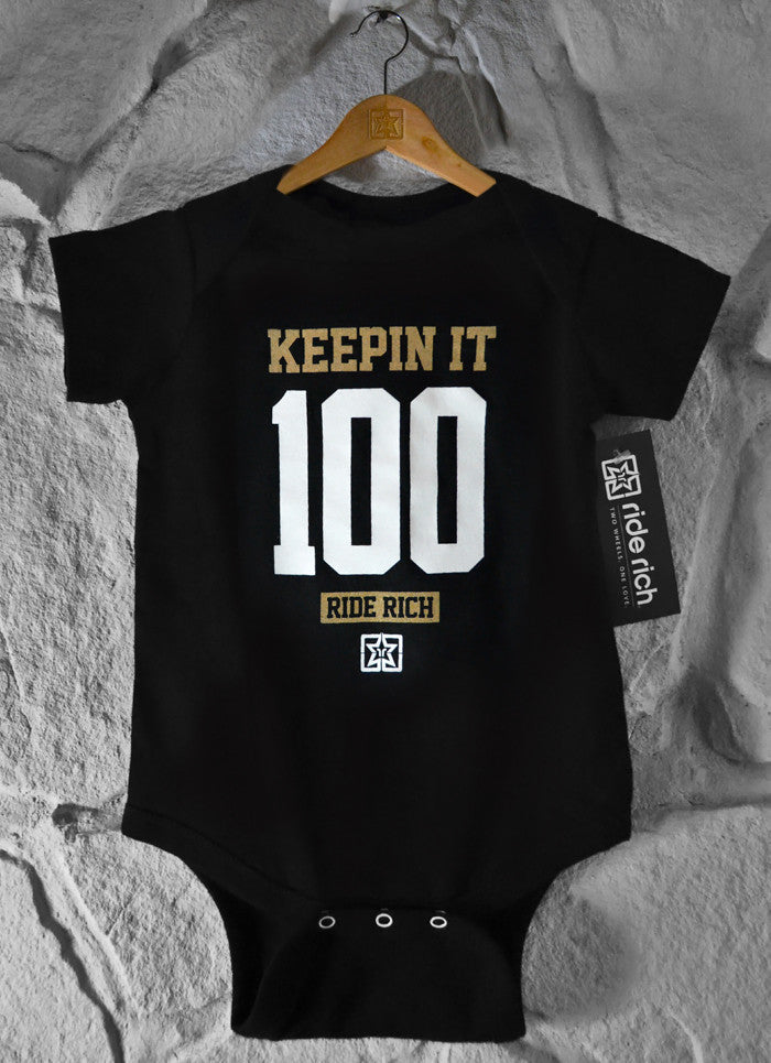 Keepin It 100 Bodysuit Onesy - Motorcycle Baby Clothing