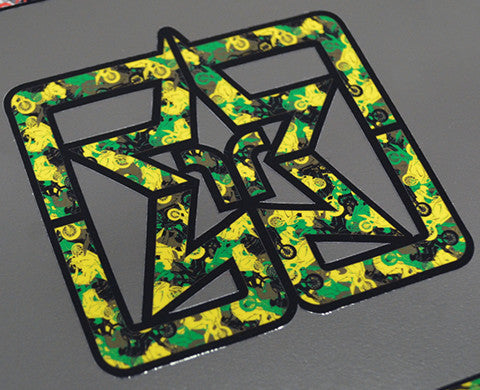Camo Emblem Vinyl Sticker {Yellow/Green} View 1 - Bike Decal