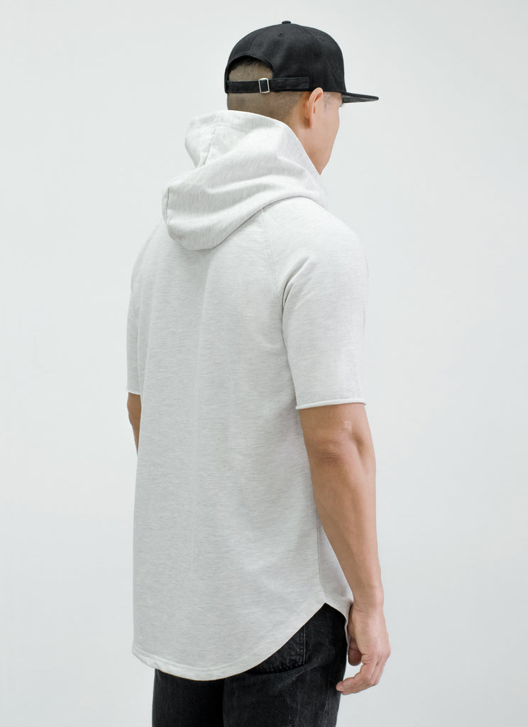 RR Filigree & Chains Patched Hooded Scoop Tee {White Heather}
