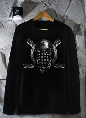 Chrome & Bones Long Sleeve Tee View 1 - Motorcycle T-shirt