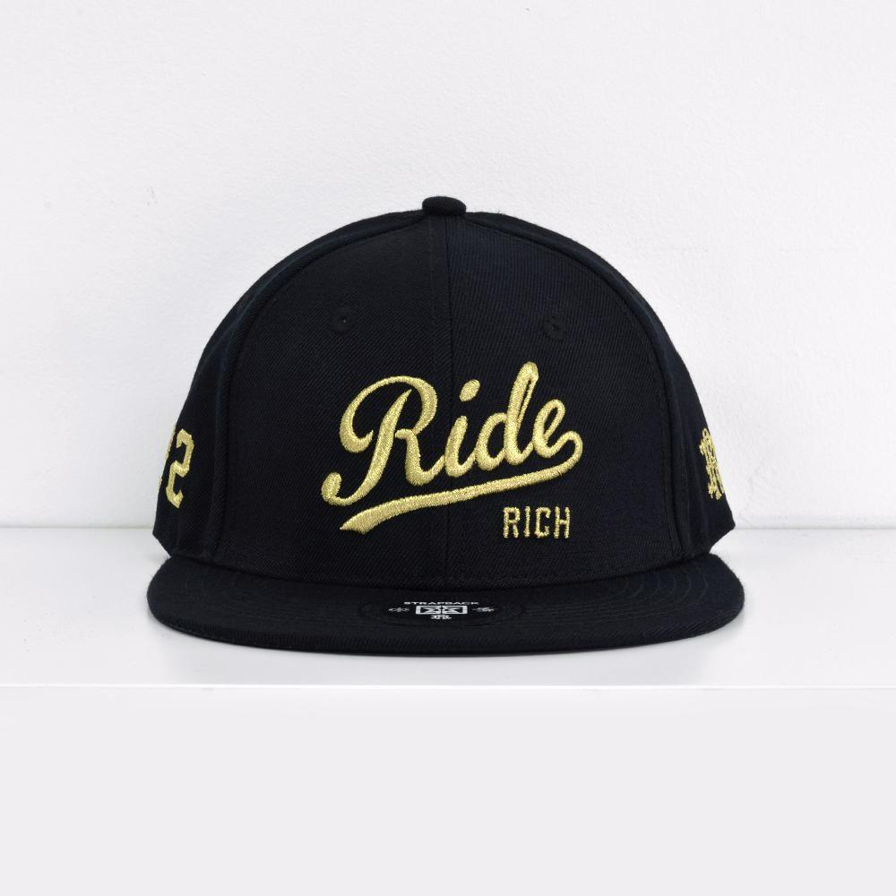 RR Squad Gold on Black Strapback View 1 - Motorcycle Hat