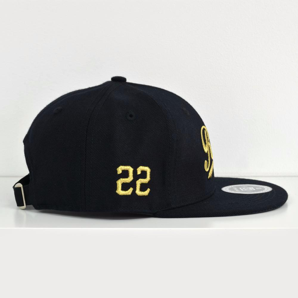 RR Squad Gold on Black Strapback View 3 - Motorcycle Hat