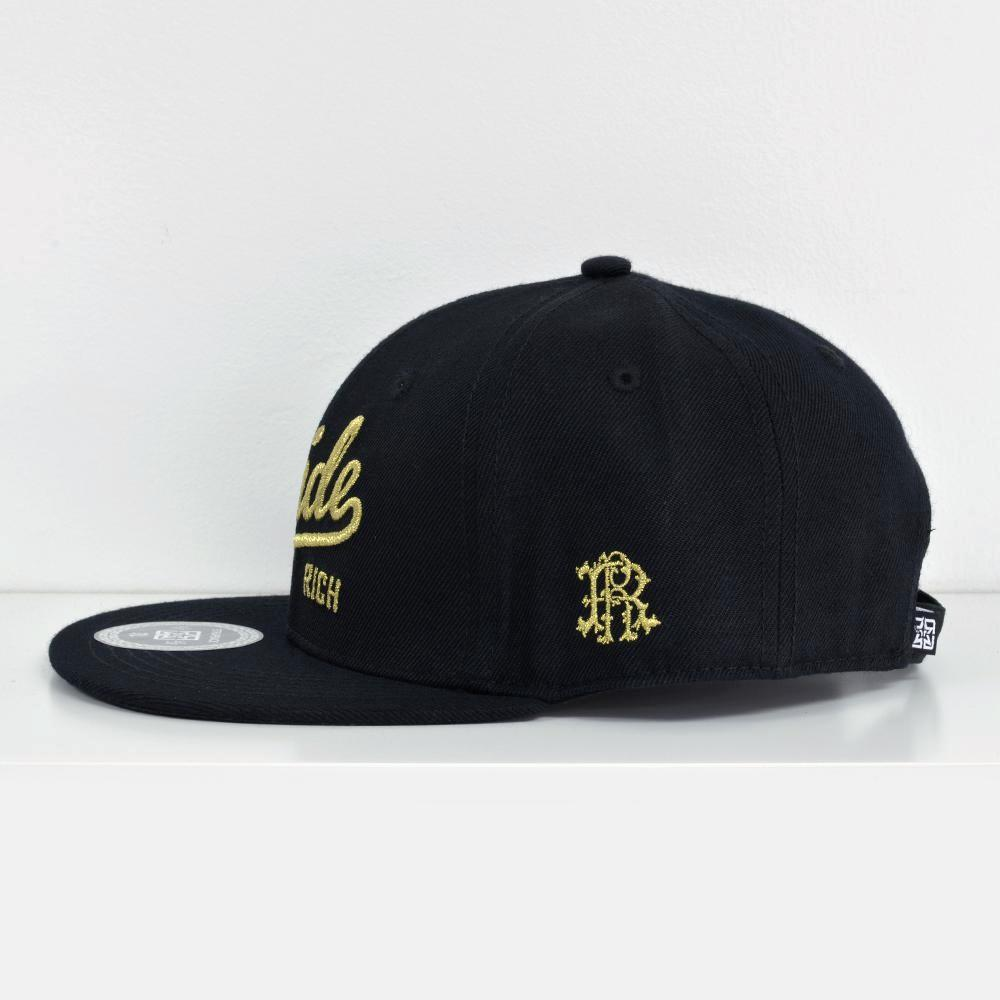 RR Squad Gold on Black Strapback View 2 - Motorcycle Hat