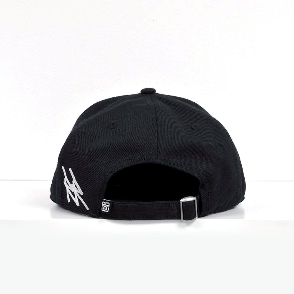RR Tag White on Black Strapback View 4 - Motorcycle Hat