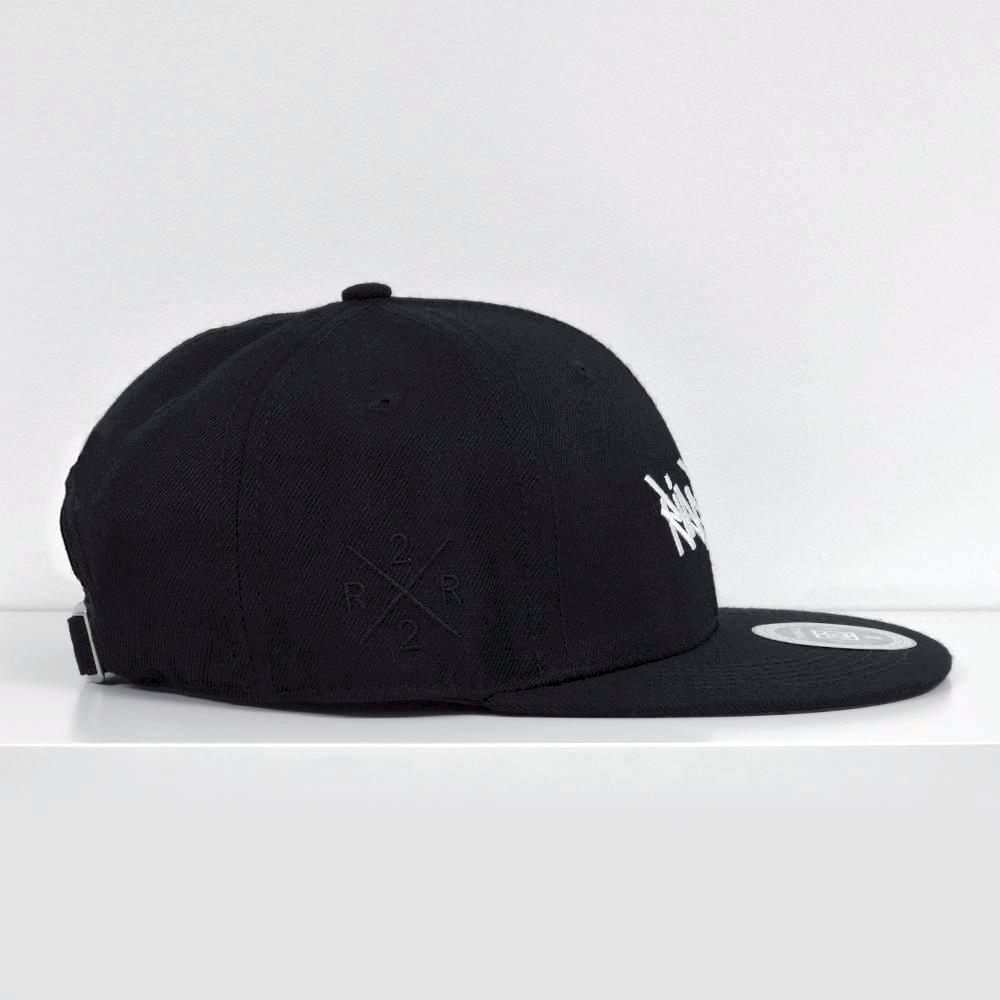 RR Tag White on Black Strapback View 5 - Motorcycle Hat