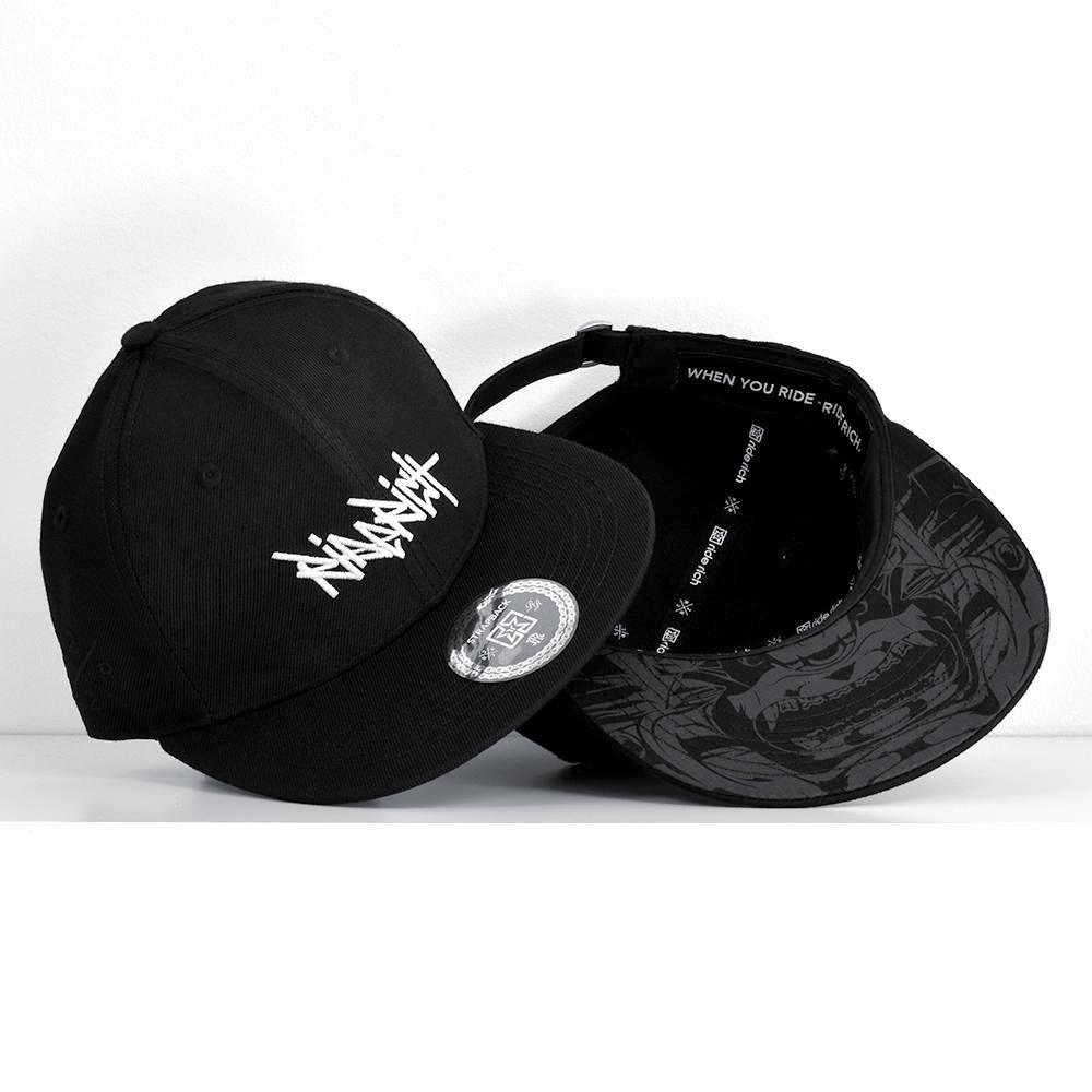 RR Tag White on Black Strapback View 1 - Motorcycle Hat