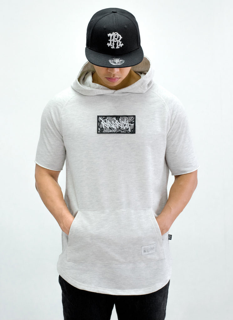 Ride Rich Tag {Paisley} Patched Hooded Scoop Tee {White Heather}