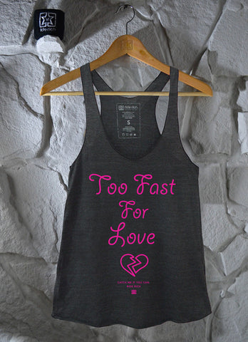 Too Fast Charcoal Grey Racerback Tank View 3 - Motorcycle Racerback Tank